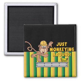 Just Monkeying Around Monkey Square Magnet
