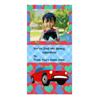 Just My Speed, Race Car Boys Kids Valentine Personalized Photo Card