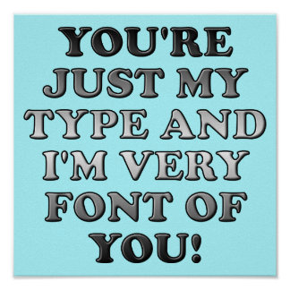 Just My Type Font Funny Poster Sign