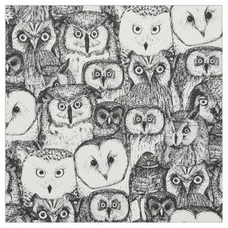 just owls black white fabric