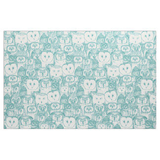 just owls teal blue fabric