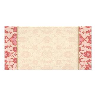 Just Peachy - Vintage Floral Pattern Photo Card