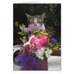 Just Popping in Cute Cat Birthday Greeting Card