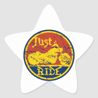 Just Ride Motorcycles Red Blue and Yellow Star Sticker
