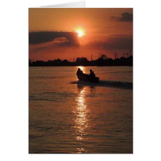 """""""Just the Two of Us"""" Sunset Boat Photo Note Card"""