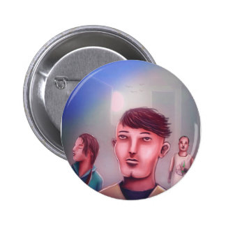 Just three friends chilling in the city 6 cm round badge