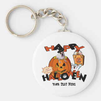 Just Too Cute Bulldog, Peeking Out of Pumpkin Basic Round Button Key Ring