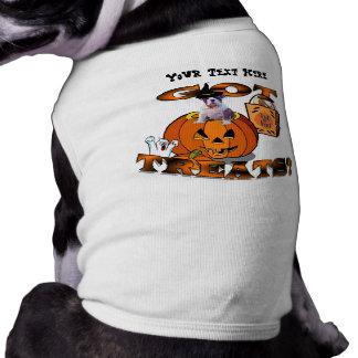 Just Too Cute Bulldog Puppy Peeking Out of Pumpkin Sleeveless Dog Shirt