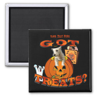Just Too Cute Westie Puppy, Peeking Out of Pumpkin Square Magnet