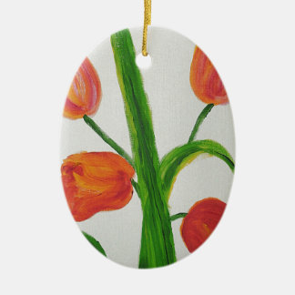 Just Tulips Ceramic Oval Decoration