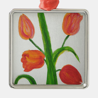 Just Tulips Silver-Colored Square Decoration