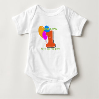 Just Turned (1) One - (baby birthday humour) Baby Bodysuit