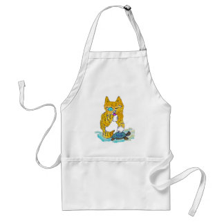 Just Washing my Paw, says Tommy kitten Standard Apron
