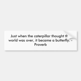 Just when the caterpillar thought the world was... bumper sticker