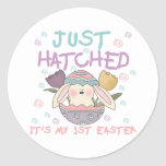 justhatchedeastertee round stickers