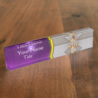 JUSTICE,GOLD SCALES OF LAW,ATTORNEY Purple Grey Desk Name Plates