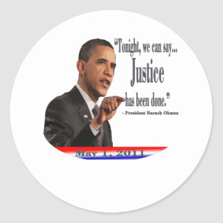 Justice has been done round sticker
