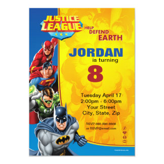 Justice League Birthday Birthday 13 Cm X 18 Cm Invitation Card