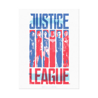 Justice League | Blue & Red Group Pop Art Canvas Print