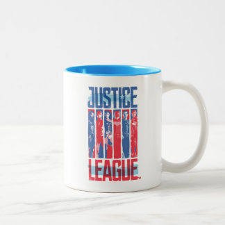 Justice League | Blue & Red Group Pop Art Two-Tone Coffee Mug