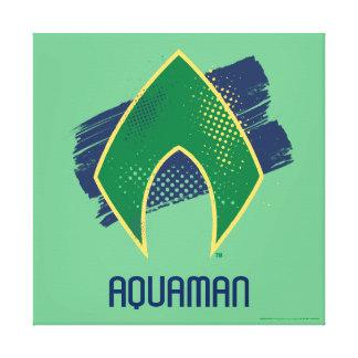 Justice League | Brush & Halftone Aquaman Symbol Canvas Print