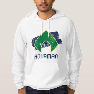 Justice League   Brush & Halftone Aquaman Symbol Hoodie