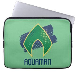 Justice League | Brush & Halftone Aquaman Symbol Laptop Sleeve