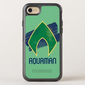 Justice League | Brush & Halftone Aquaman Symbol OtterBox Symmetry iPhone 8/7 Case