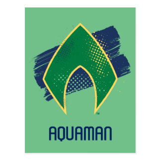 Justice League | Brush & Halftone Aquaman Symbol Postcard