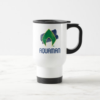 Justice League | Brush & Halftone Aquaman Symbol Travel Mug