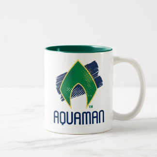 Justice League | Brush & Halftone Aquaman Symbol Two-Tone Coffee Mug