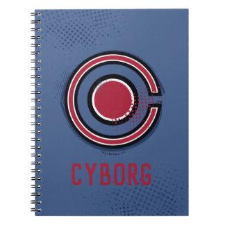 Justice League | Brush & Halftone Cyborg Symbol Spiral Notebook