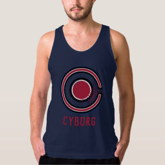 Justice League | Brush & Halftone Cyborg Symbol Tank Top