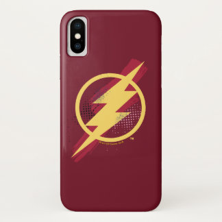 Justice League | Brush & Halftone Flash Symbol iPhone X Case