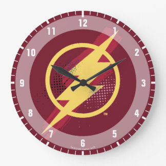 Justice League | Brush & Halftone Flash Symbol Large Clock