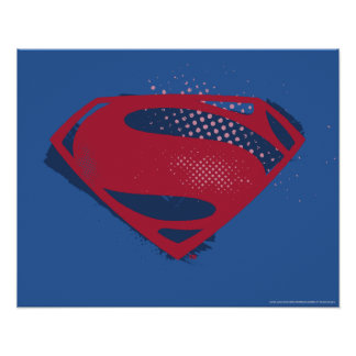 Justice League | Brush & Halftone Superman Symbol Poster