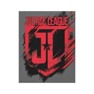 Justice League | Brushed Paint JL Shield Canvas Print