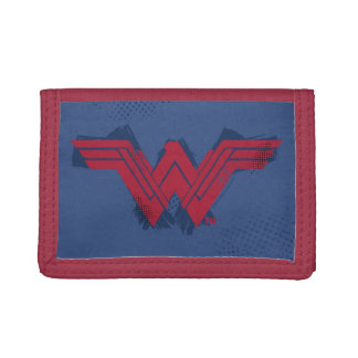 Justice League | Brushed Wonder Woman Symbol Tri-fold Wallets
