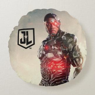 Justice League   Cyborg On Battlefield Round Cushion