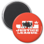 Justice League Logo and Character Silhouettes 6 Cm Round Magnet