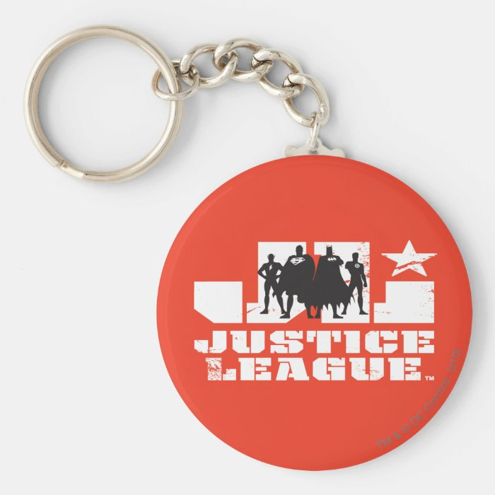Justice League Logo and Character Silhouettes Basic Round Button Key Ring