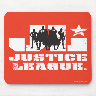 Justice League Logo and Character Silhouettes Mousepad