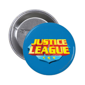 Justice League Name and Shield Logo 6 Cm Round Badge