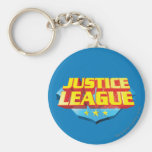 Justice League Name and Shield Logo Basic Round Button Key Ring
