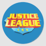 Justice League Name and Shield Logo Classic Round Sticker
