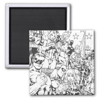 Justice League of America First Issue B/W Square Magnet