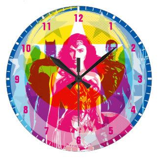 Justice League | Retro Group & Logo Pop Art Large Clock