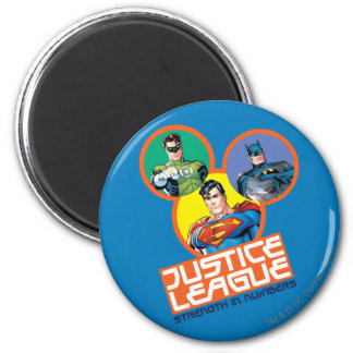 """Justice League """"Strength in Numbers"""" 6 Cm Round Magnet"""