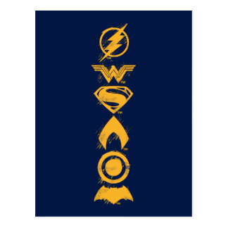 Justice League | Stylized Team Symbols Lineup Postcard
