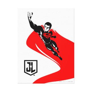 Justice League | Superman Flying Noir Pop Art Canvas Print